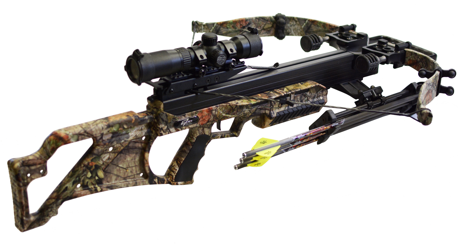 BULLDOG 385 CUSTOMIZED CAMO s optikou Excalibur TACT 100 a lícnicí
